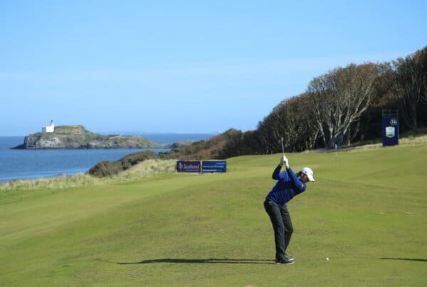 NORTH BERWICK, SCOTLAND - SEPTEMBER 29: Julien Guerrier of France plays his second shot on the 13th hole during a practice round prior to the start of the Aberdeen Standard Investments Scottish Open at The Renaissance Club on September 29, 2020 in North Berwick, Scotland. (Photo by Andrew Redington/Getty Images)