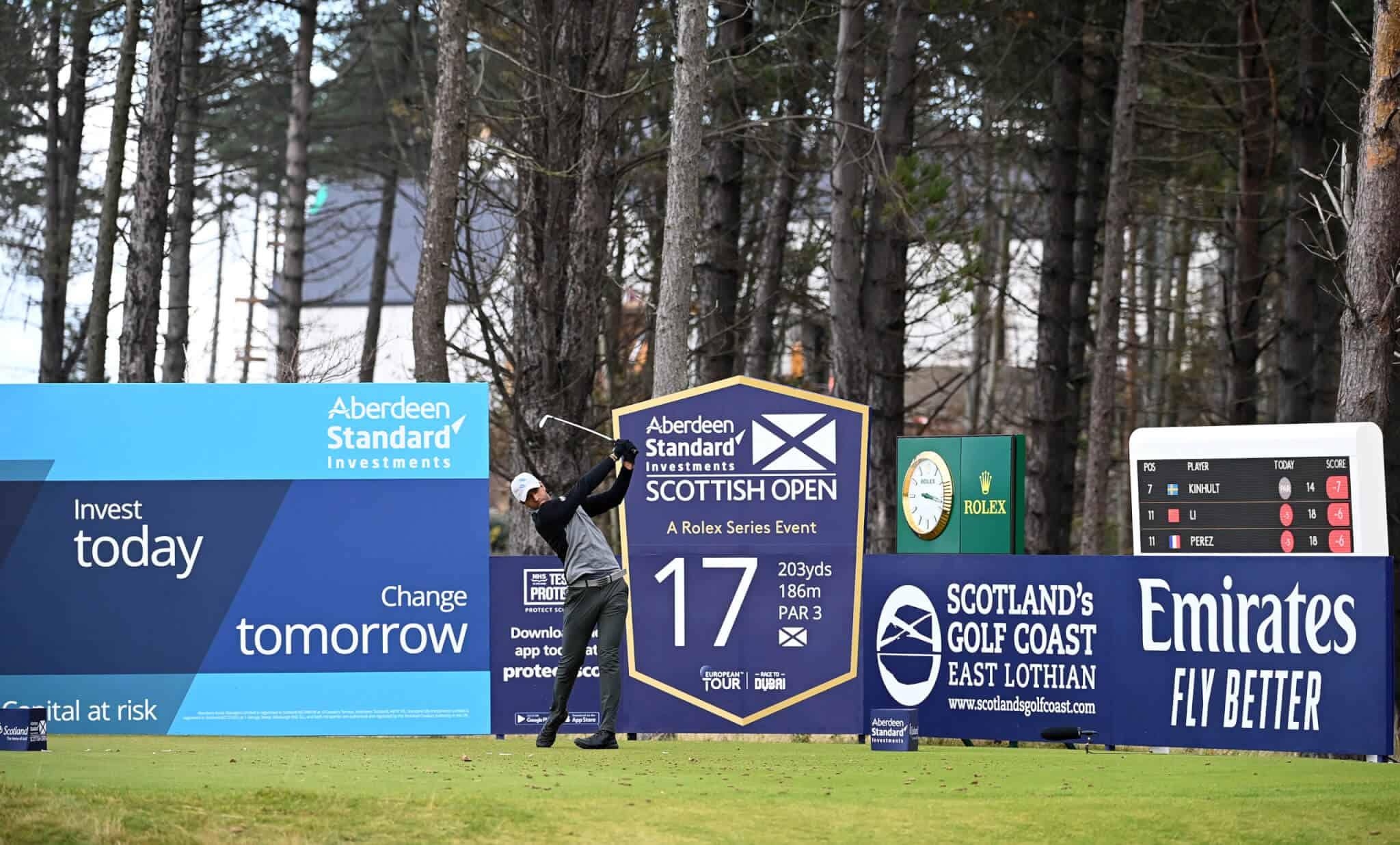 NORTH BERWICK, SCOTLAND - OCTOBER 04: Aaron Rai of England tees off on the 17th hole during the final round of the Aberdeen Standard Investments Scottish Open at The Renaissance Club on October 04, 2020 in North Berwick, Scotland. (Photo by Ross Kinnaird/Getty Images)