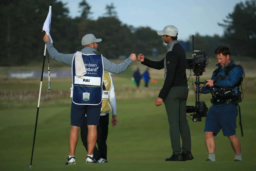 NORTH BERWICK, SCOTLAND - OCTOBER 04: Aaron Rai of England celebrates beating Tommy Fleetwood of England after the first play-off hole to win the Aberdeen Standard Investments Scottish Open at The Renaissance Club on October 04, 2020 in North Berwick, Scotland. (Photo by Andrew Redington/Getty Images)